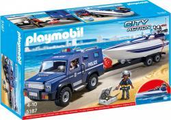 Playmobil Pojazd terenowy policji z motorówka 5187