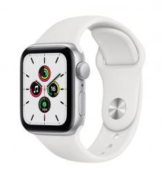 Apple Zegarek SE GPS, 40mm koperta z aluminium w kolorze srebrnym z białym paskiem sportowym- Regular
