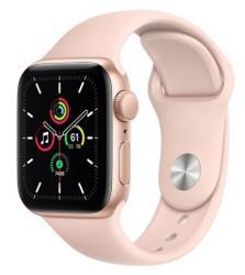 Apple Zegarek SE GPS, 44mm koperta z aluminium w kolorze złotym z paskiem sportowym w kolorze piaskowego różu - Regular