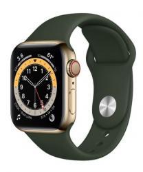 Apple Zegarek Series 6 GPS + Cellular, 44mm koperta ze stali nierdzewnej w kolorze złotym z paskiem sportowym w kolorze cypryjskiej zieleni