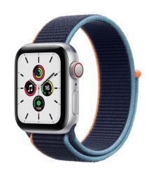 Apple Zegarek SE GPS + Cellular, 40mm koperta z aluminium w kolorze srebrnym z opaską sportową w kolorze głębokiego granatu