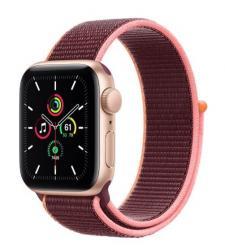 Apple Zegarek SE GPS + Cellular, 44mm koperta z aluminium w kolorze złotym z opaską sportową w kolorze śliwkowym