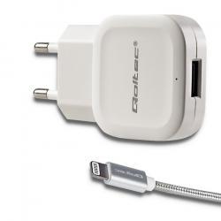 Qoltec Ładowarka sieciowa | 12W | 5V | 2.4A | USB+ kabel Lightning | biała