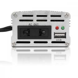 Whitenergy Przetwornica samochodowa 150/300W 24V(DC)-230V(AC) z portem USB i adapterem uniwersalnym