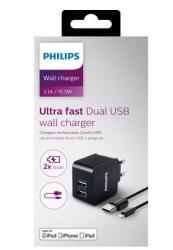 Philips Ładowarka 5V/3.1A 15.5W iPhone 5, iPad 3, iPad mini (z kablem Apple Lightning)